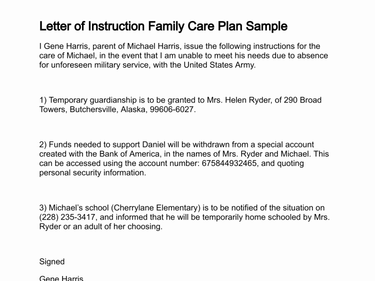Letter Of Instruction Template Bank Elegant Military Family Care Plan Discharge