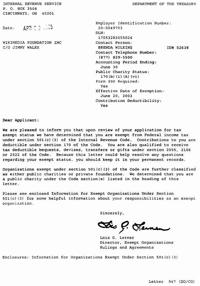 Letter Of Instruction Template Bank Inspirational File 501 C 3 Letter Wikimedia Foundation Governance Wiki