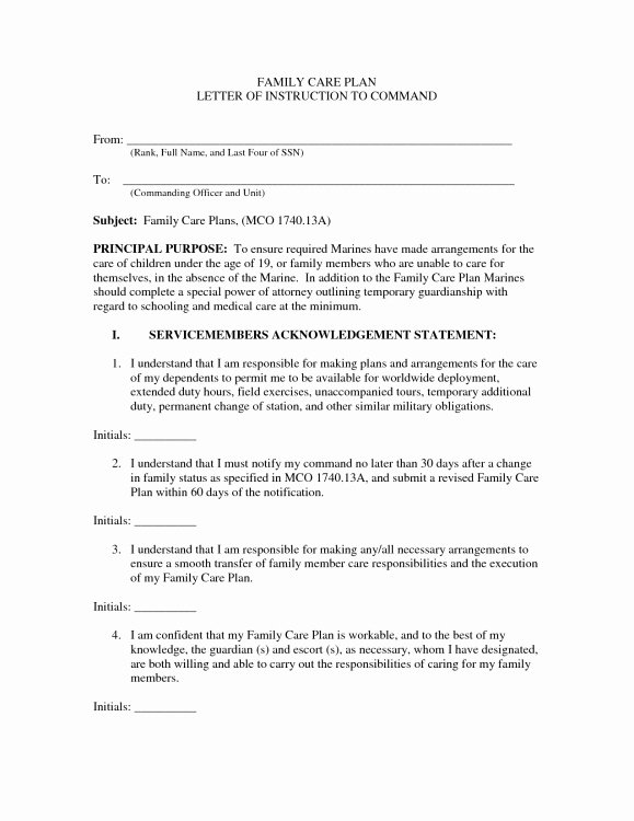 Letter Of Instruction Template Bank Inspirational Us Army Family Care Plan Letter Of Instruction Example