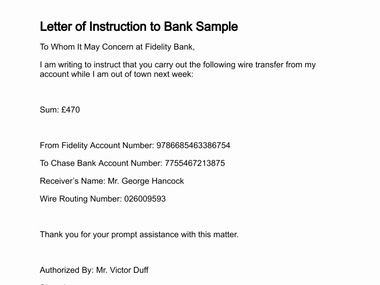 Letter Of Instruction Template Bank New Letter Of Instruction
