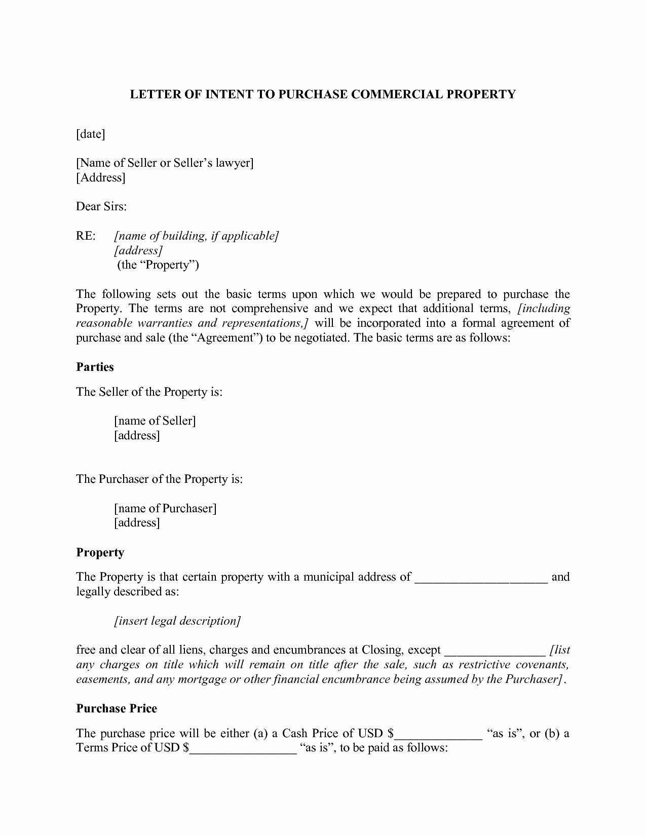 Letter Of Intent to Purchase Real Estate Template Beautiful Mercial Real Estate Letter Intent to Purchase