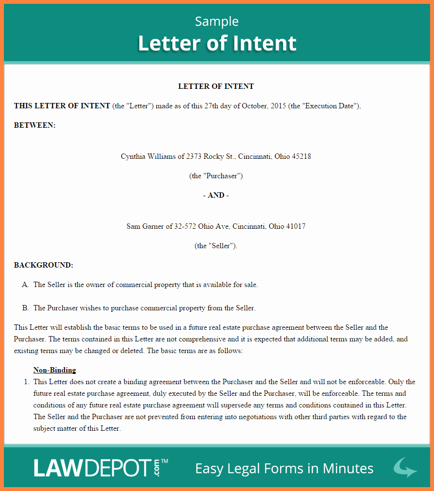 Letter Of Intent to Purchase Real Estate Template Fresh 10 Letter Of Intent for Real Estate Purchase Template