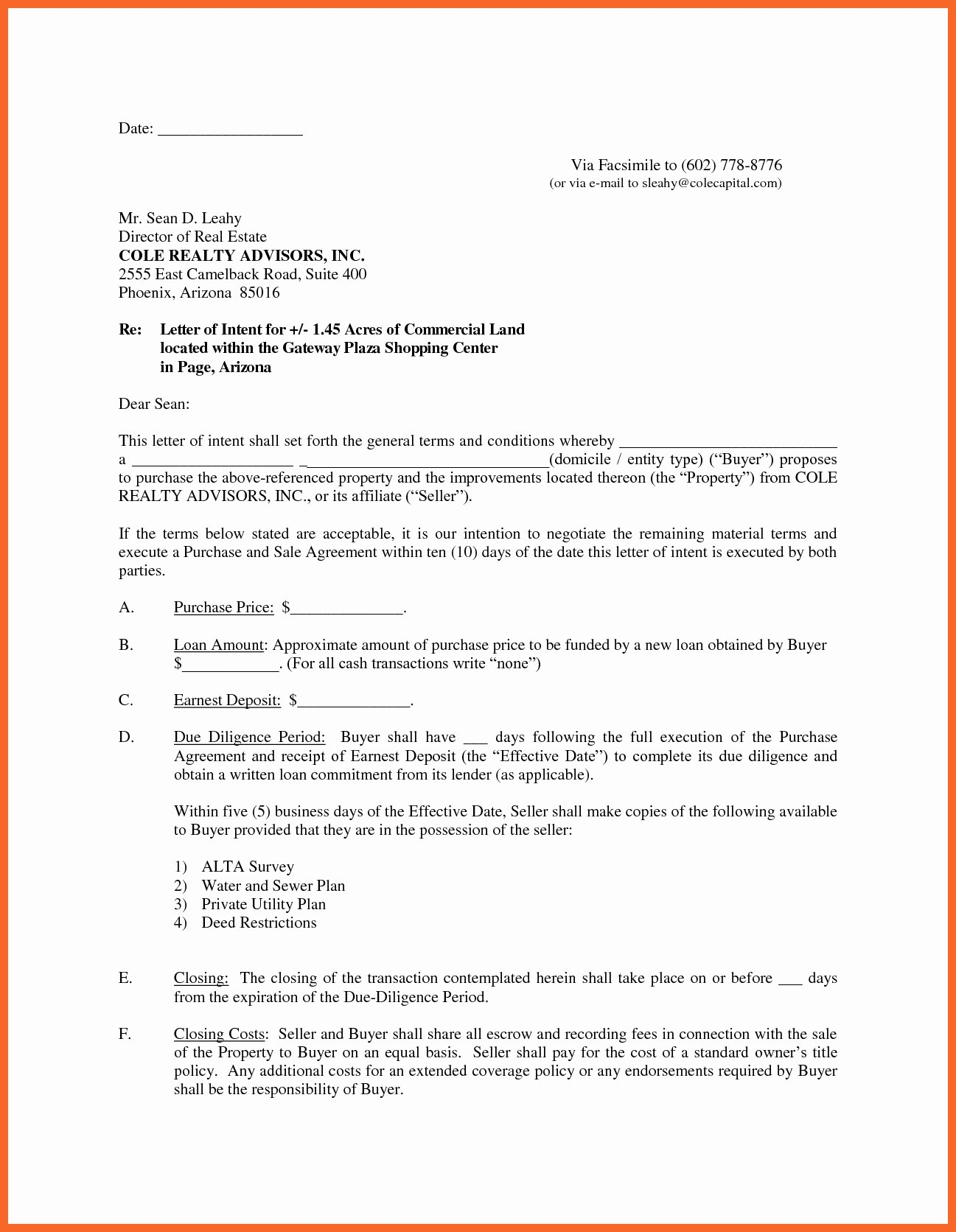 Letter Of Intent to Purchase Real Estate Template Fresh Letter Intent to Sell House Template Samples