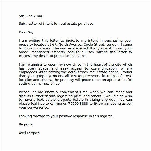 Letter Of Intent to Purchase Real Estate Template Lovely Letter Intent to Purchase