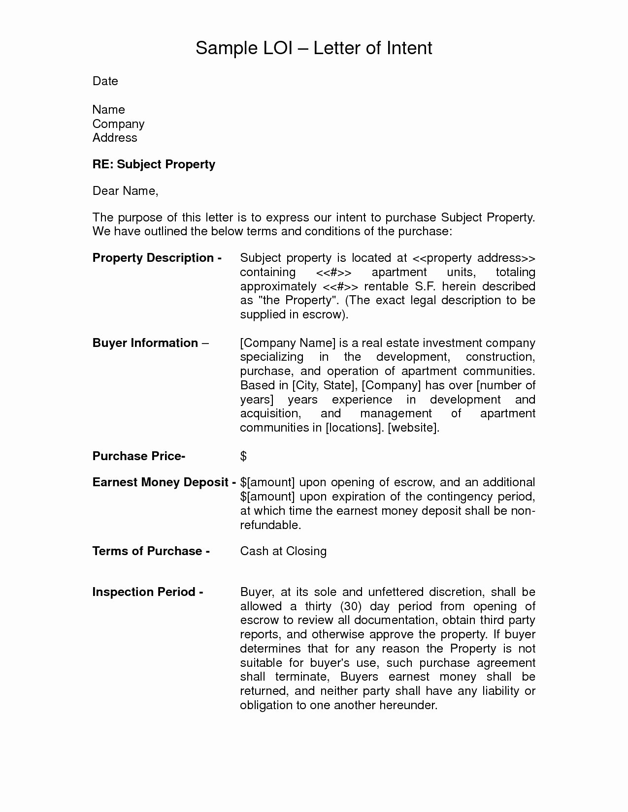 Letter Of Intent to Purchase Real Estate Template Lovely Letter Intent to Purchase Real Estate Template Examples