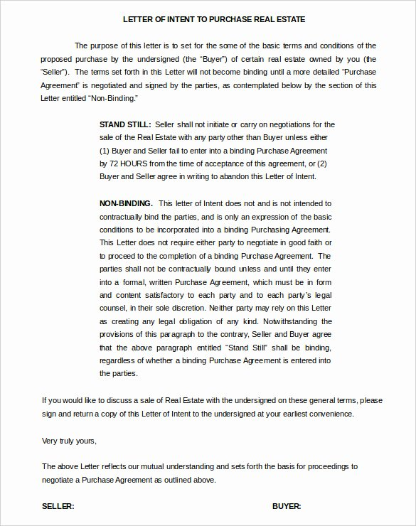 Letter Of Intent to Purchase Real Estate Template New 11 Real Estate Letter Of Intent Templates Pdf Doc