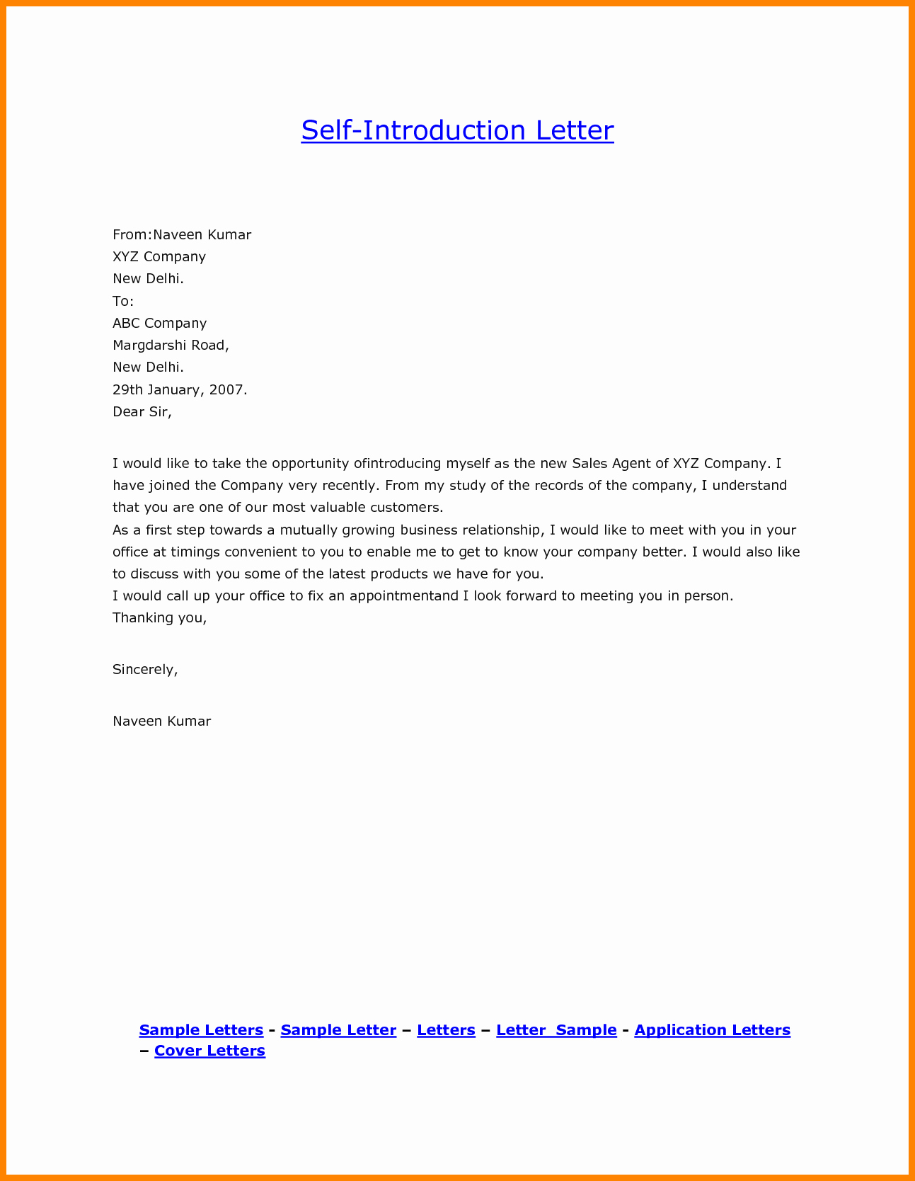 Letter Of Introduction format Lovely 7 Short Personal Introduction Examples