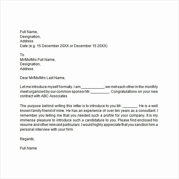 Letter Of Introduction format New 34 Sample Introduction Letters Doc Pdf