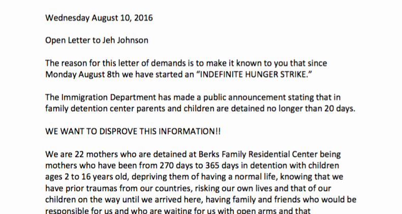 Letter Of Knowing someone for Immigration Beautiful Moms Go On A Hunger Strike to themselves and their