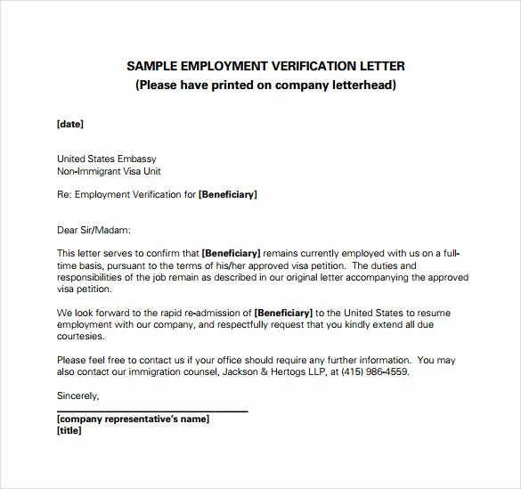 Letter Of Knowing someone for Immigration Luxury Employment Verification Letter 14 Download Free