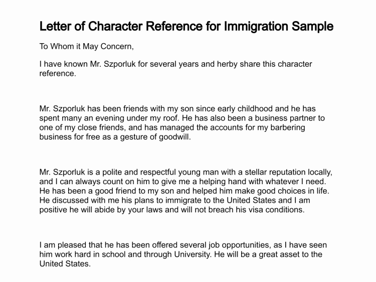 Letter Of Knowing someone for Immigration Sample Inspirational Letter Of Character Reference