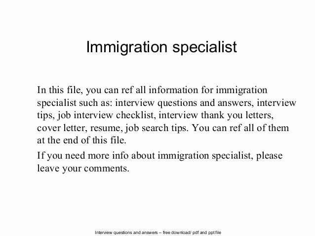 Letter Of Knowing someone for Immigration Unique Immigration Specialist