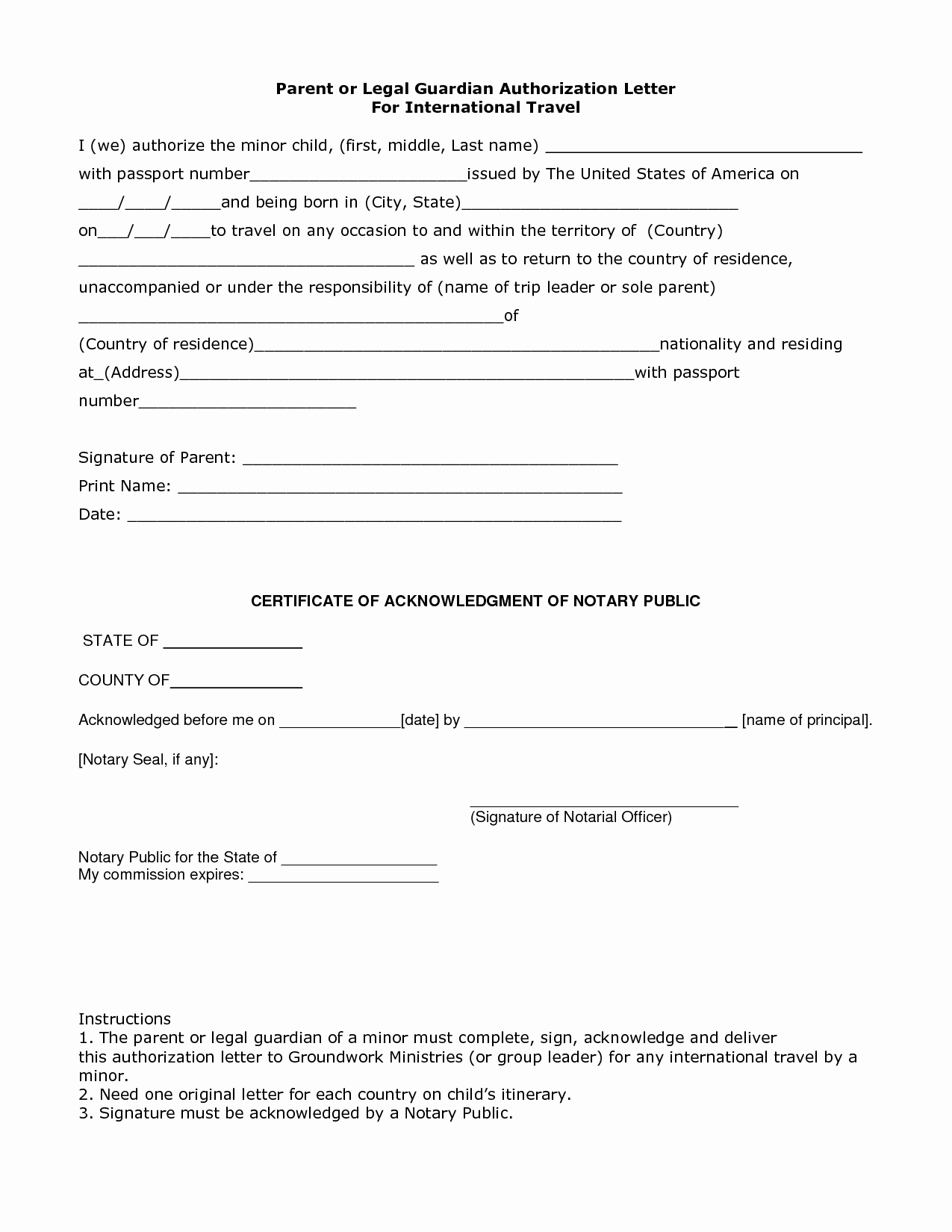Letter Of Permission to Travel with Grandchildren Awesome Authorization Letter Legal Guardian Guardianship Sample
