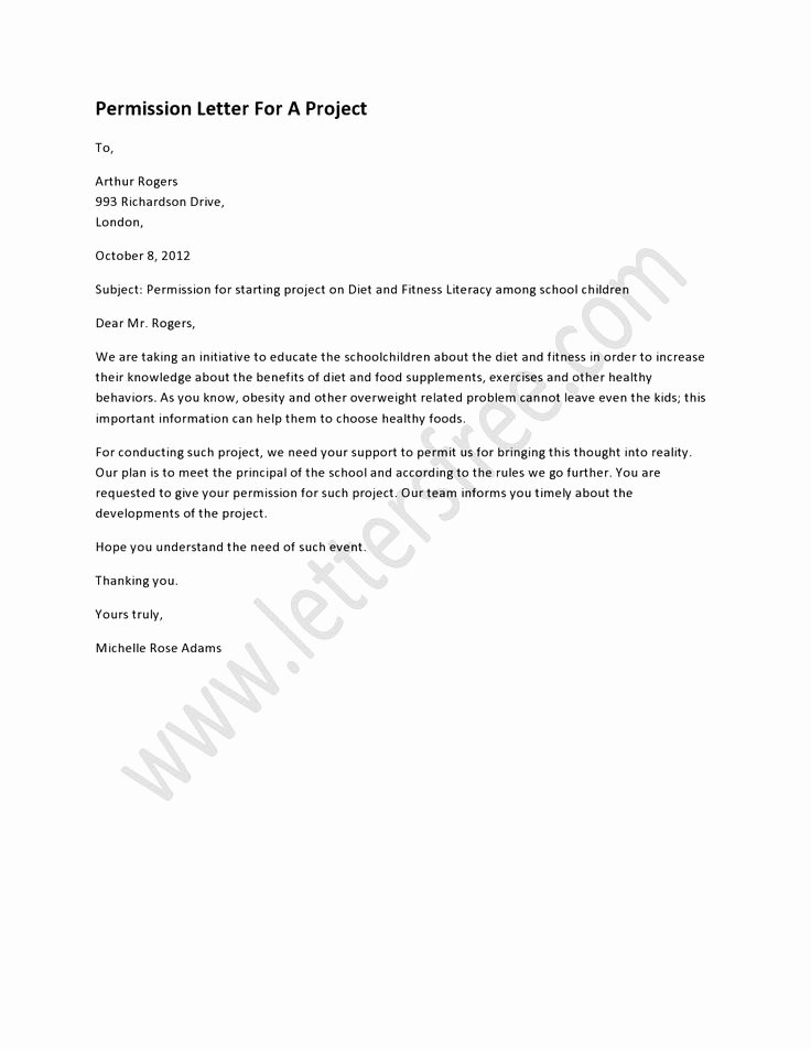 Letter Of Permission to Travel with Grandchildren Awesome Permission Letter for A Project