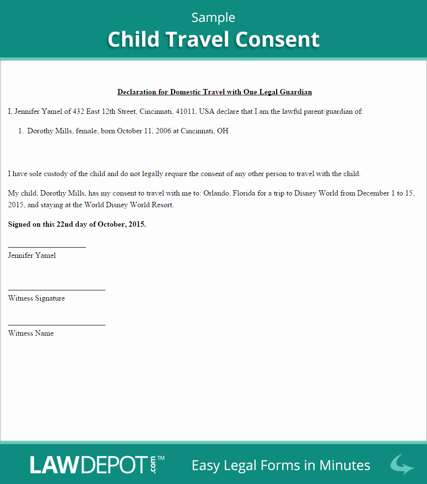Letter Of Permission to Travel with Grandchildren Elegant Child Travel Consent Free Consent form Us