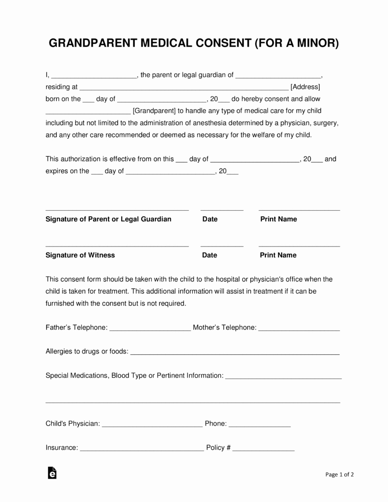Letter Of Permission to Travel with Grandchildren Fresh Grandparents' Medical Consent form – Minor Child