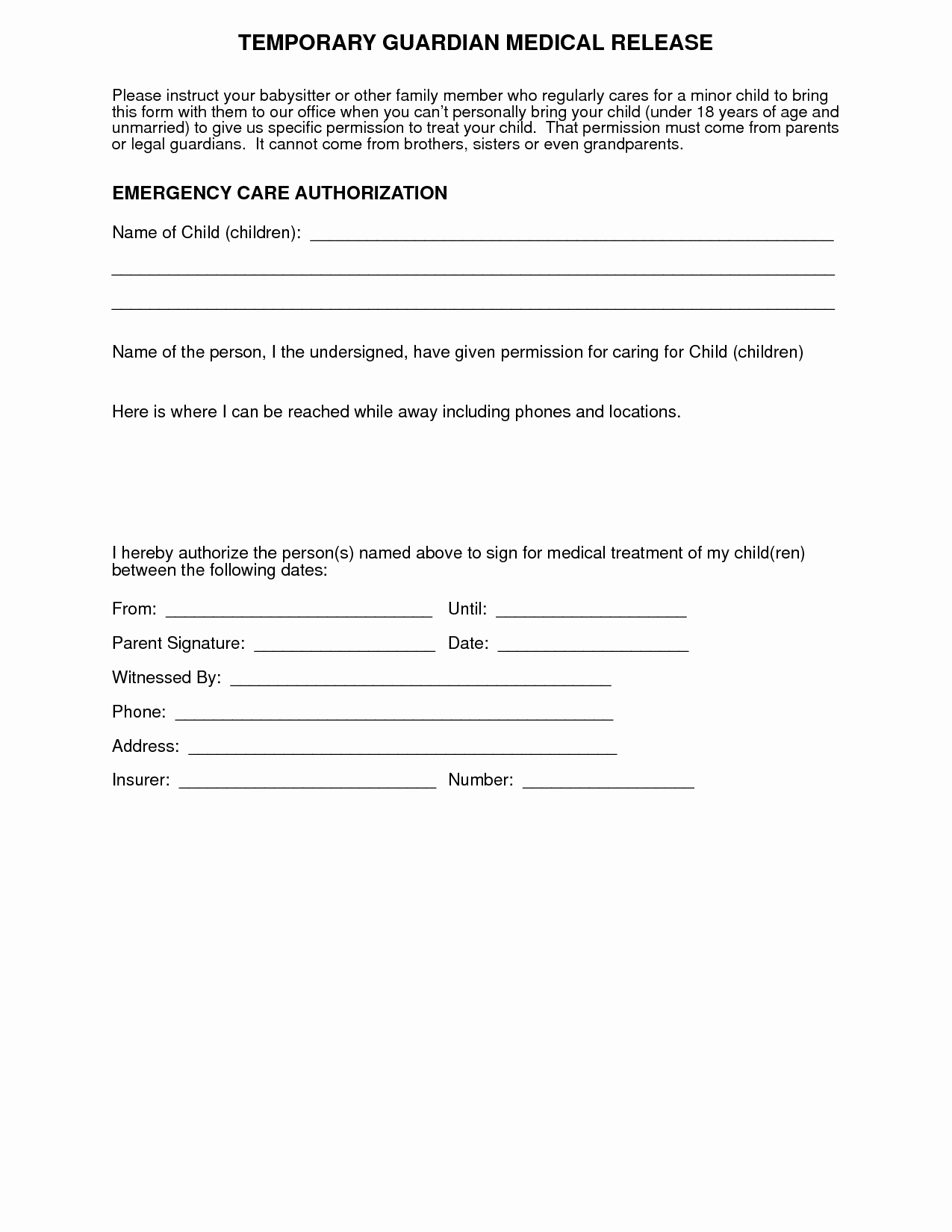 Letter Of Permission to Travel with Grandchildren Luxury Medical Authorization form for Grandparents