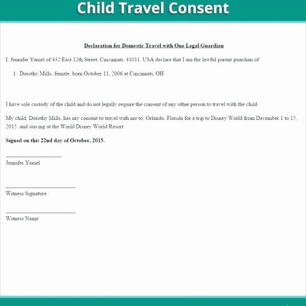 Letter Of Permission to Travel with Grandchildren Luxury Permission Letter for Child to Travel with Grandparents