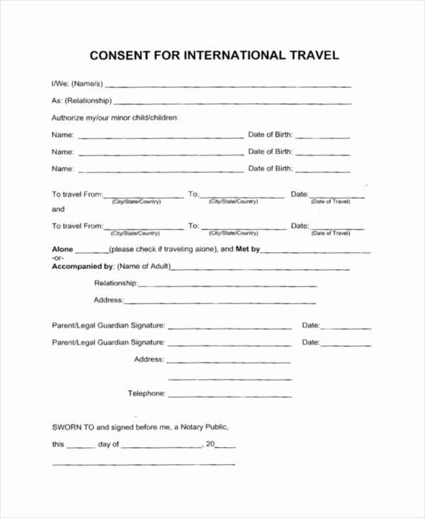 Letter Of Permission to Travel with Grandchildren Template Beautiful Sample Travel Consent forms 10 Free Documents In Pdf Doc