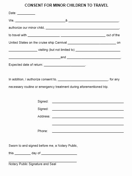Letter Of Permission to Travel with Grandchildren Template Best Of 10 Free Sample Travel Consent form Printable Samples