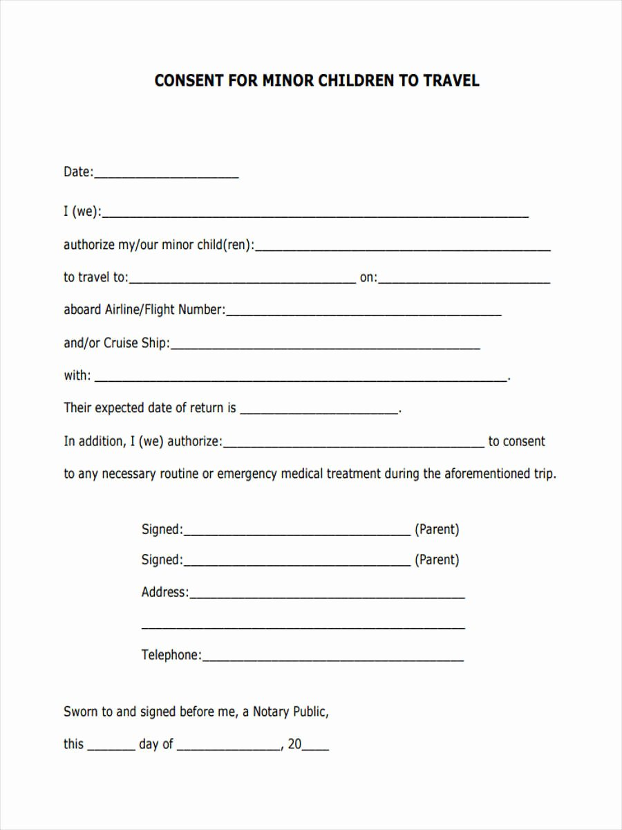 Letter Of Permission to Travel with Grandchildren Template Best Of 5 Child Travel Consent forms Free Sample Example
