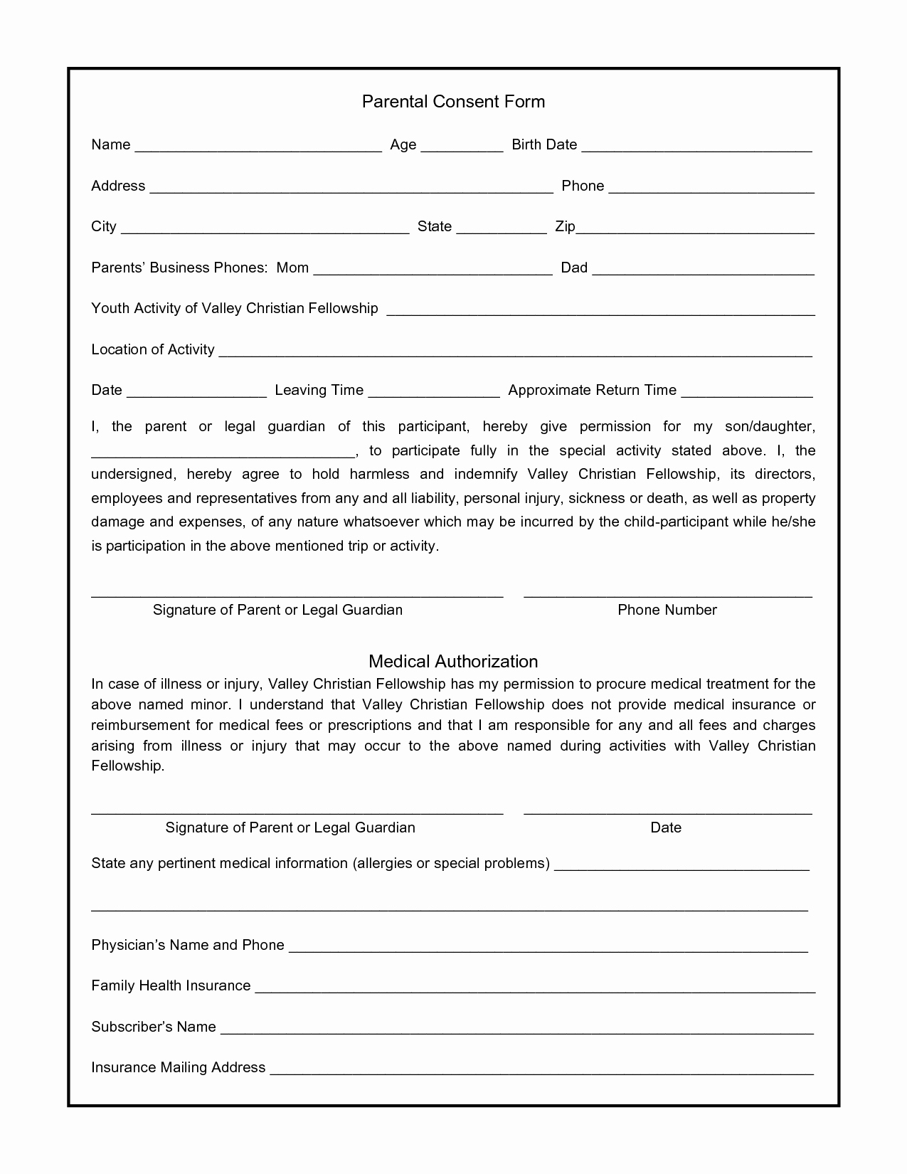 Letter Of Permission to Travel with Grandchildren Template Lovely Parental Consent form for S Swifter Parental