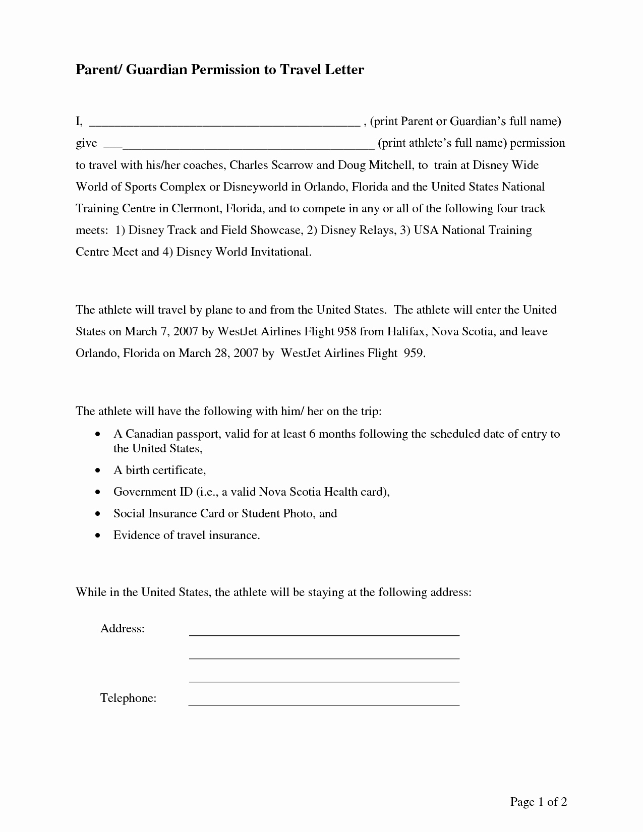 Letter Of Permission to Travel with Grandchildren Template Lovely Parental Consent Permission Letter Sample