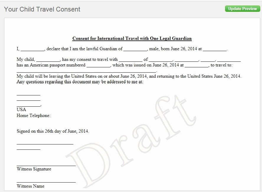 notarized letter of consent when traveling with a minor