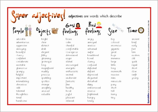 Letter Of Recommendation Adjectives Best Of Adjectives Word Mat Sb6524 Sparklebox