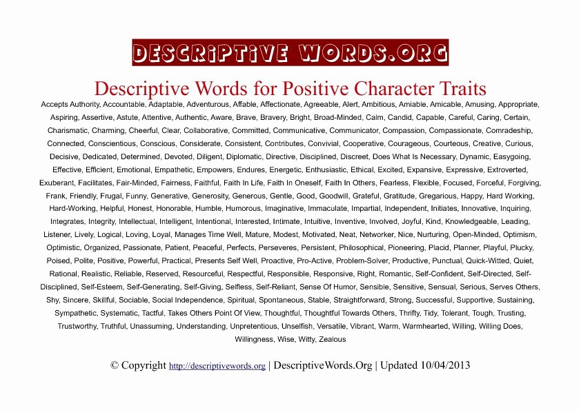 Letter Of Recommendation Adjectives Best Of Descriptive Words for Positive Character Traits