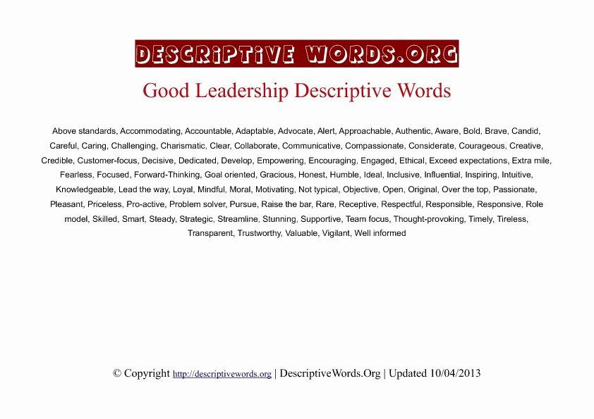 Letter Of Recommendation Adjectives Fresh Descriptive Words for Leadership