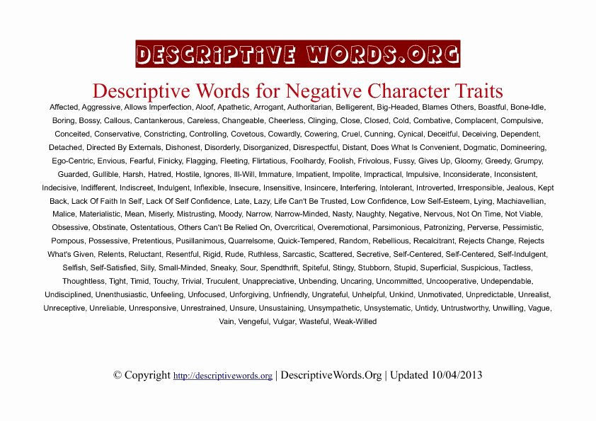 Letter Of Recommendation Adjectives Lovely Descriptive Words for Negative Character Traits
