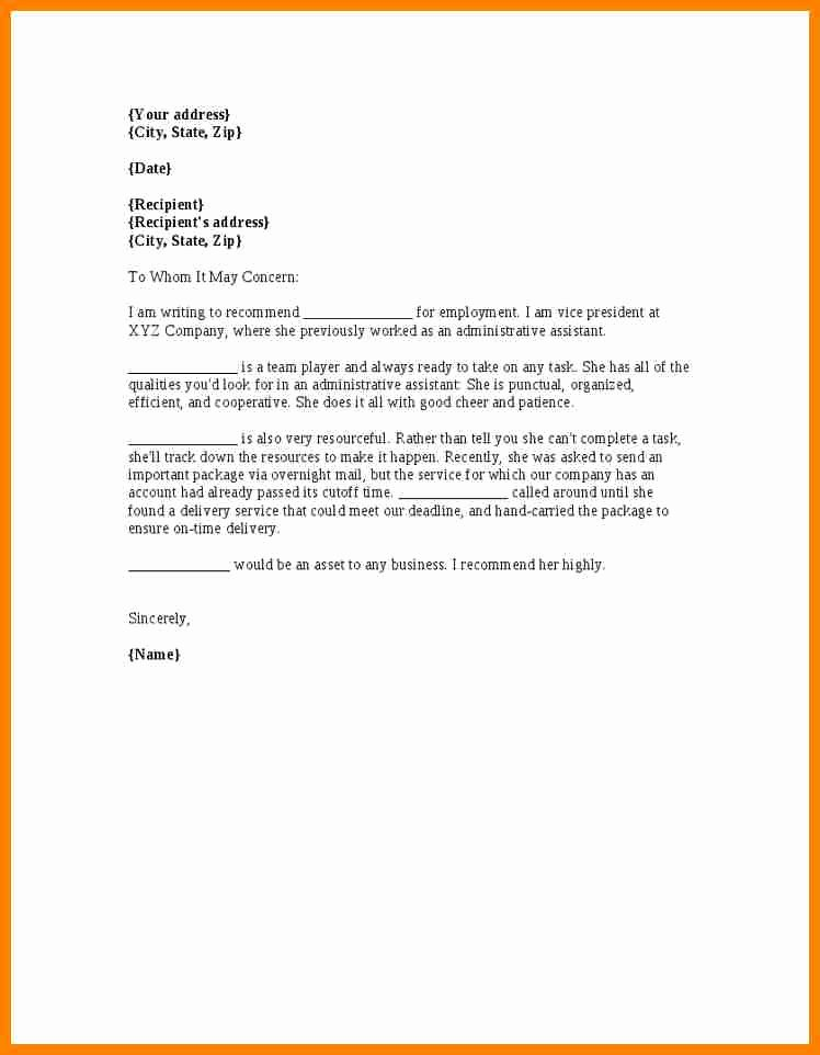 Letter Of Recommendation Administrative assistant New 9 Re Mendation Letter for Administrative assistant