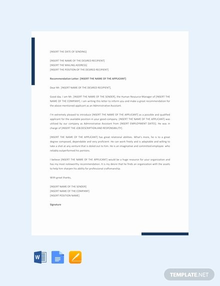 Letter Of Recommendation Administrative assistant New Sample Administrative assistant Reference Letter Template