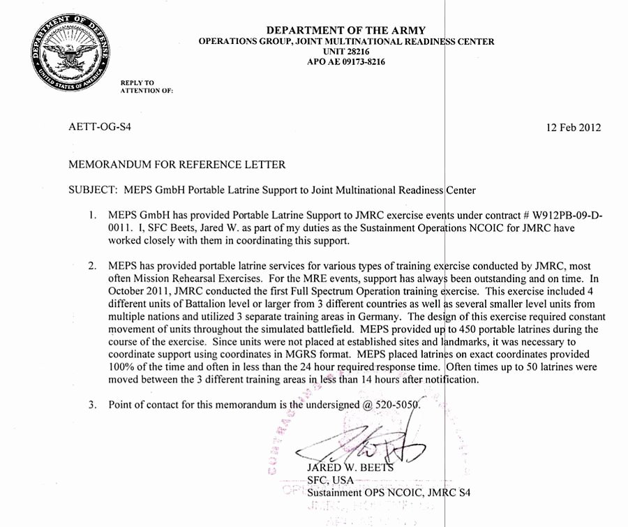 Letter Of Recommendation Army Awesome 360° Service for the Military Meps International