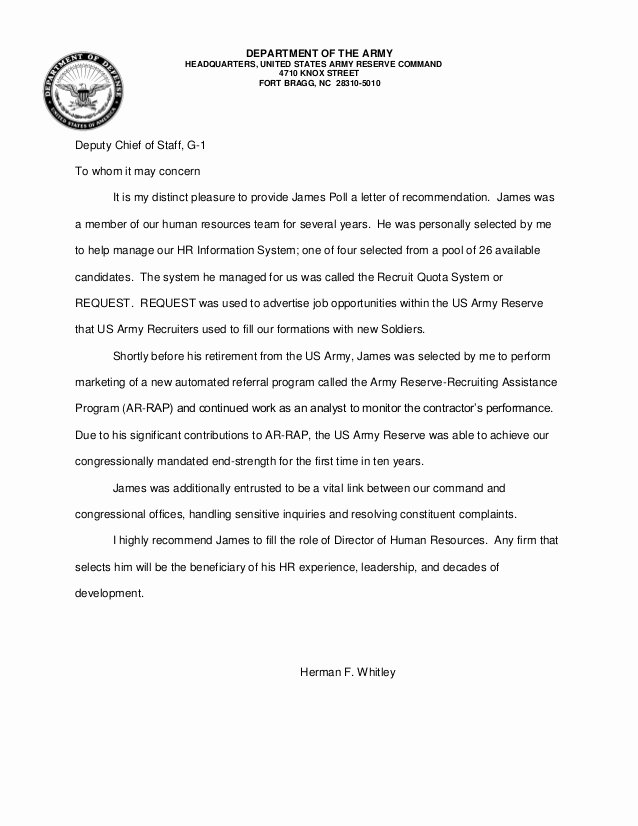 Letter Of Recommendation Army Best Of Letter Of Re Mendation James Poll Whitley