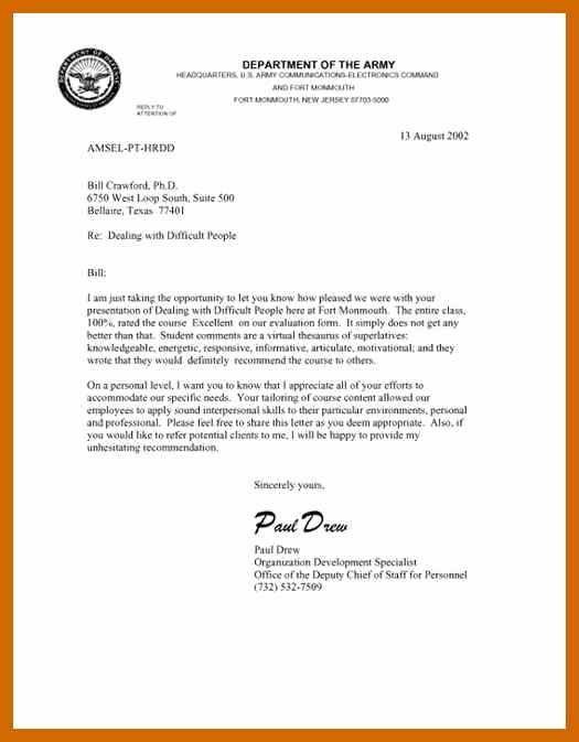 Letter Of Recommendation Army Lovely 8 9 Military Letter formats