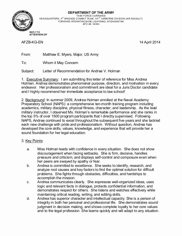Letter Of Recommendation Army Unique Major Myers Re Mendation Letter Holman