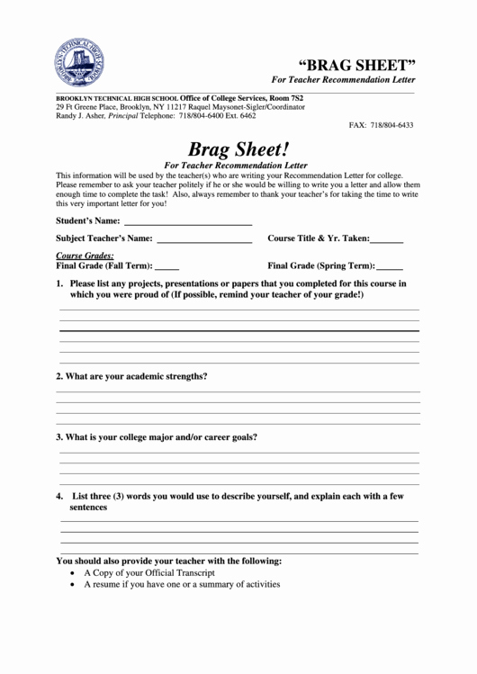 Letter Of Recommendation Brag Sheet Best Of Brag Sheet for Teacher Re Mendation Letter form