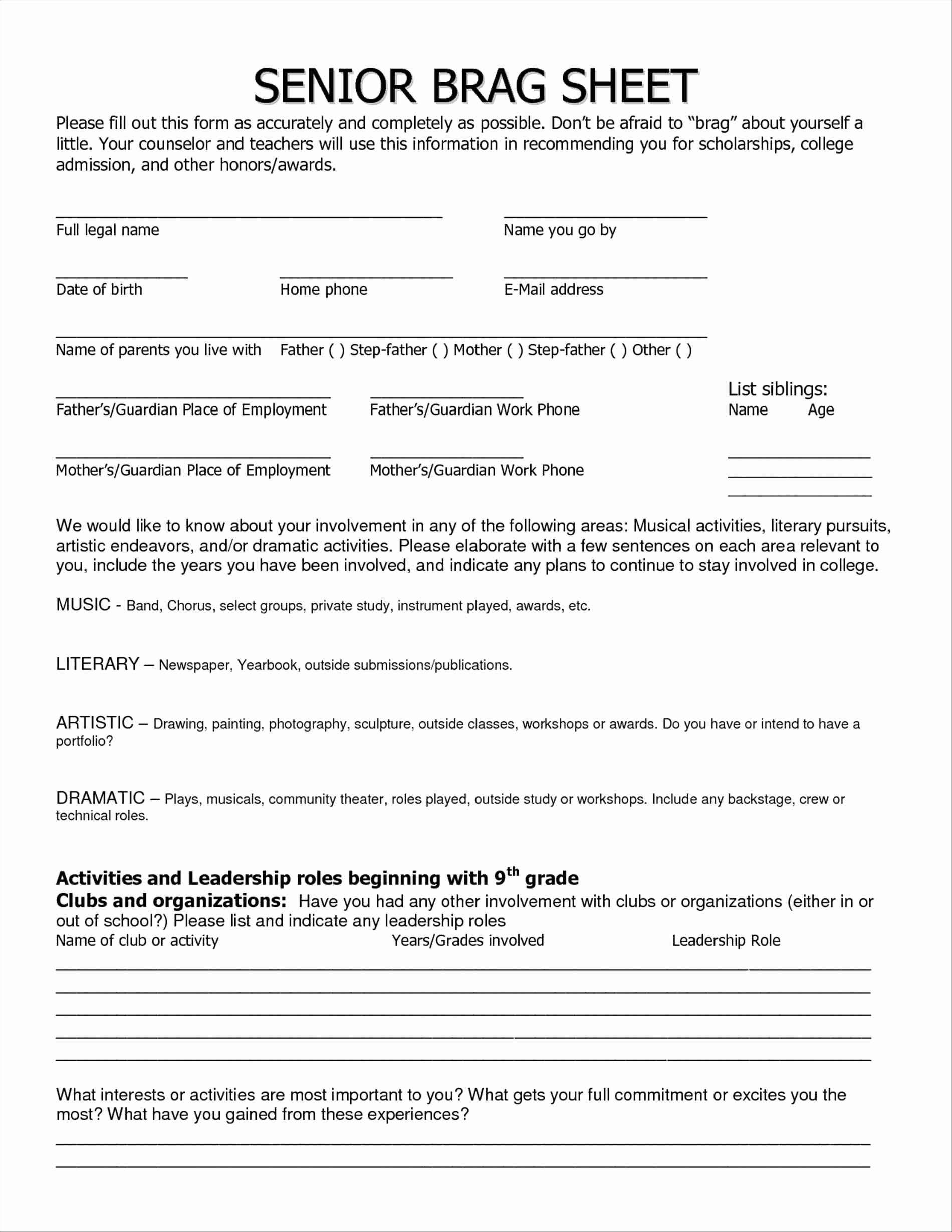 Letter Of Recommendation Brag Sheet New Brag Sheet Template for Letter Re Mendation Examples