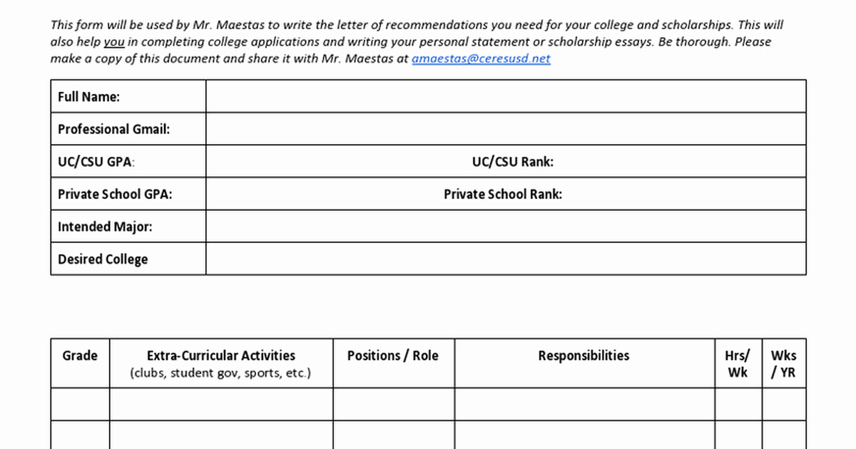 Letter Of Recommendation Brag Sheet Unique Letter Of Re Mendation Brag Sheet Template Google Docs