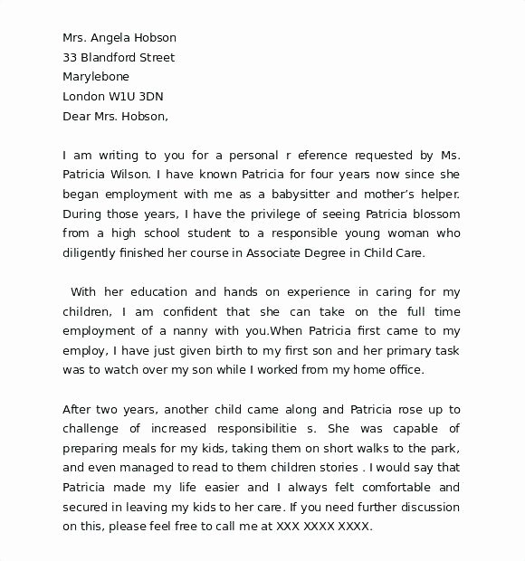 Letter Of Recommendation Child Care Beautiful Example Character Reference Letter Free Examples for