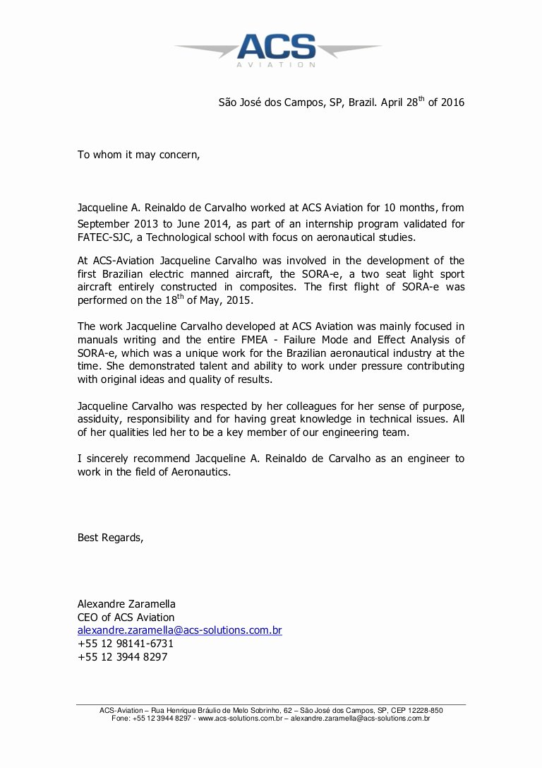 Letter Of Recommendation Child Care Elegant Acs Aviation Re Mendation Letter Jacqueline