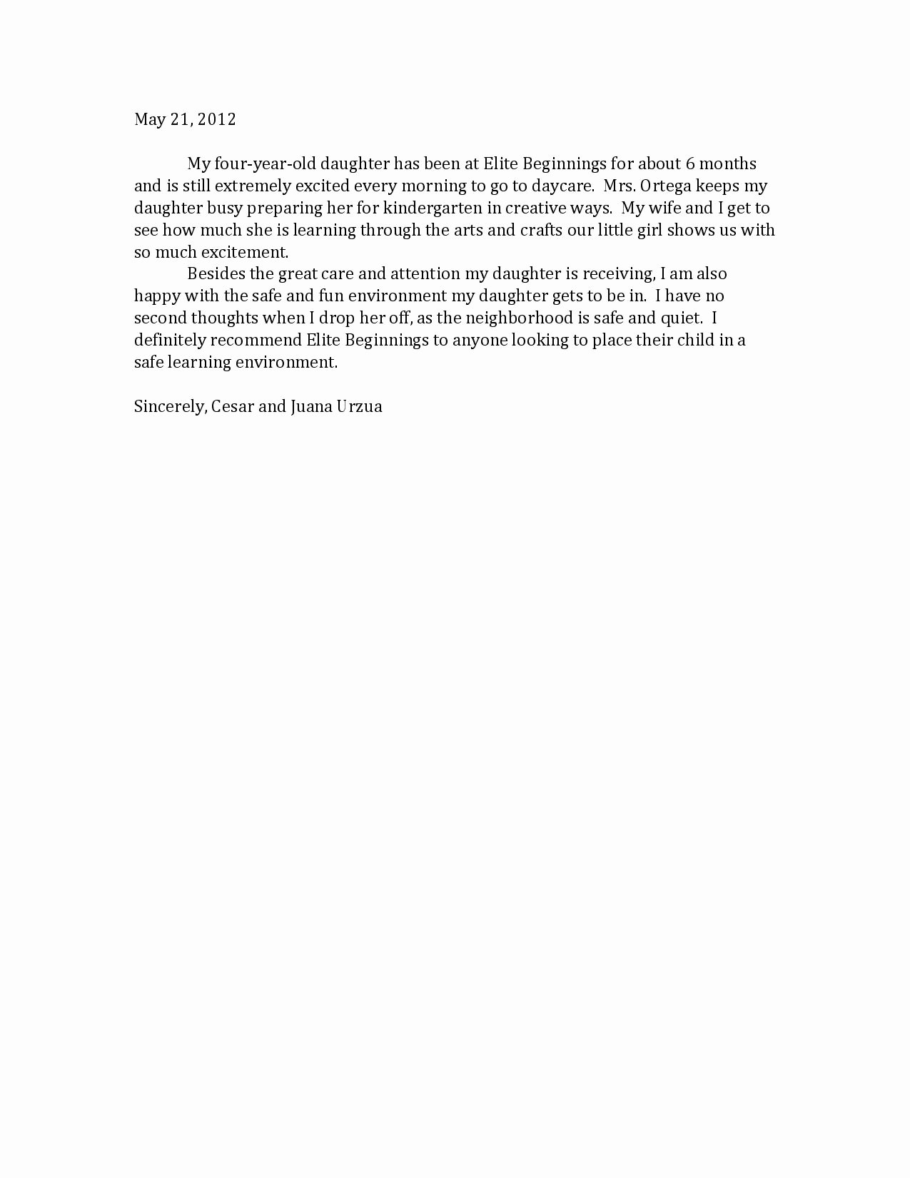 Letter Of Recommendation Child Care Luxury Child Care Letter Free Printable Documents
