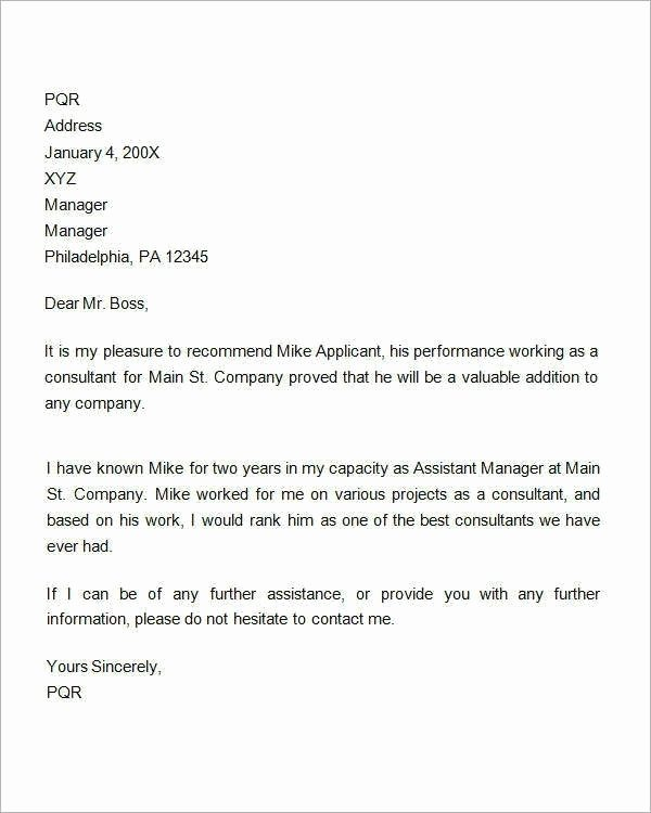 Letter Of Recommendation Definition Elegant 9 Reference Letter for Employment Examples Pdf