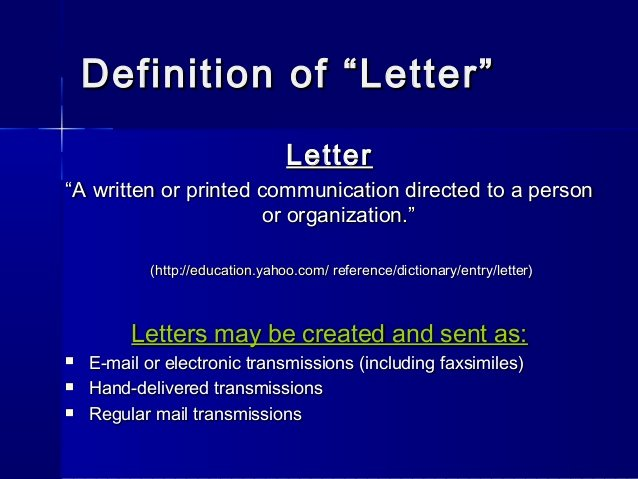 Letter Of Recommendation Definition Fresh Letterwriting Ppt
