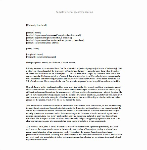 Letter Of Recommendation Definition Unique 25 Re Mendation Letter Templates Free Sample format