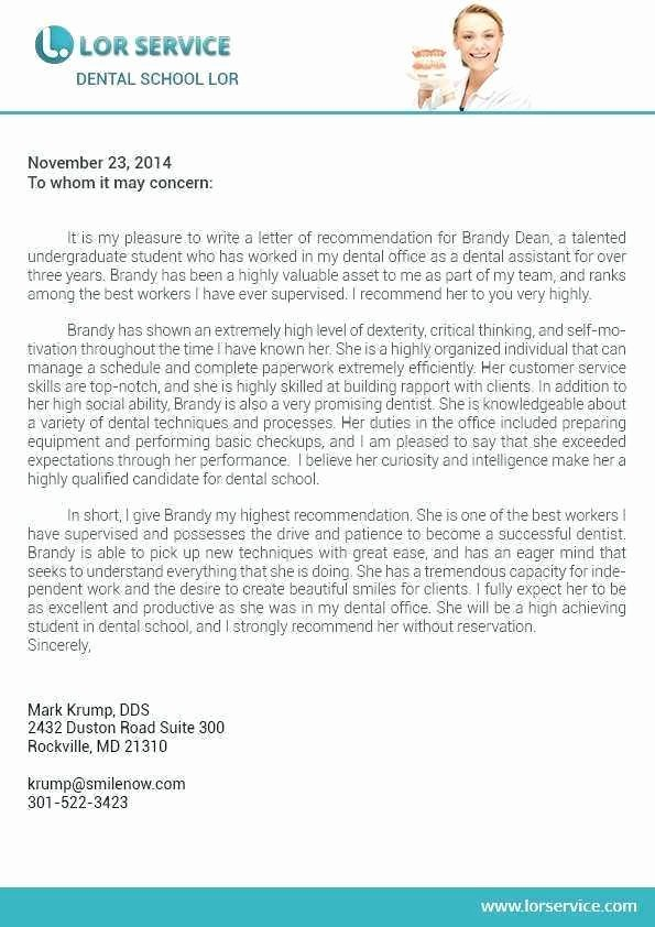 Letter Of Recommendation Dental School Awesome Dental School Reference Letter Sample