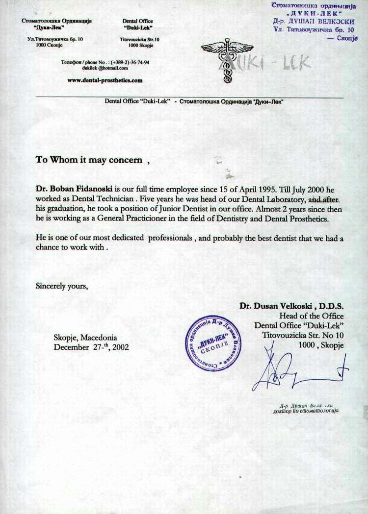 Letter Of Recommendation Dental School Elegant Dr Boban Fidanoski Dmd Resume Curriculum Vitae