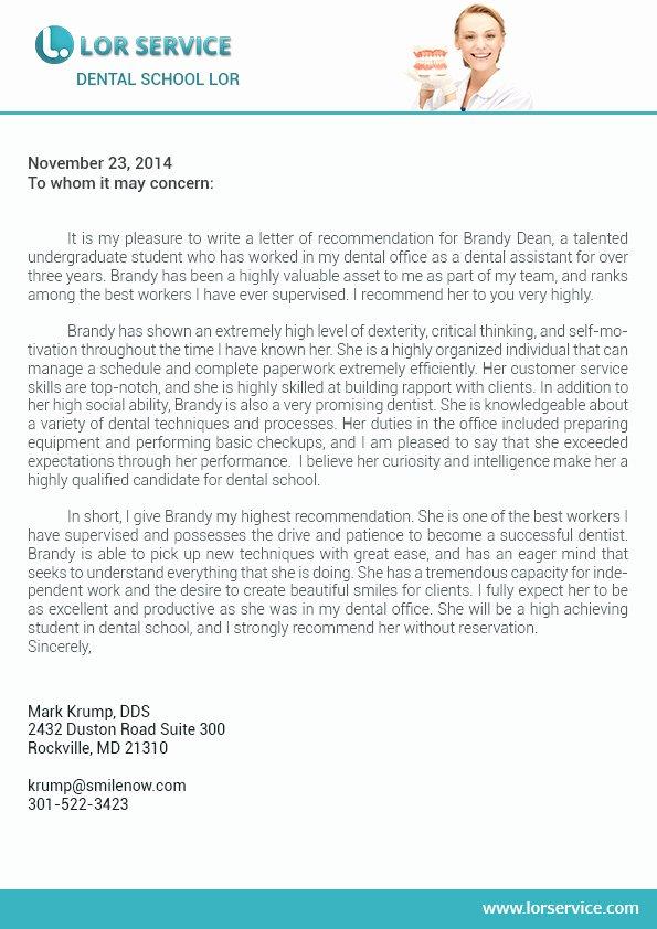Letter Of Recommendation Dental School Lovely Letter Of Re Mendation for Dental School Writing Service